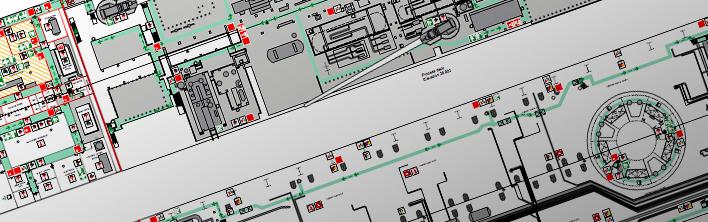 Een sectie van een veiligheidsplantekening van een FPSO welke wordt gebruikt bij oefeningen en calamiteiten.