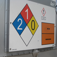 A NFPA diamond integrated on a complete tankmarking