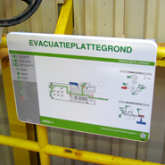 Durable and weatherproof evacuation plan applied on an offshore platform.