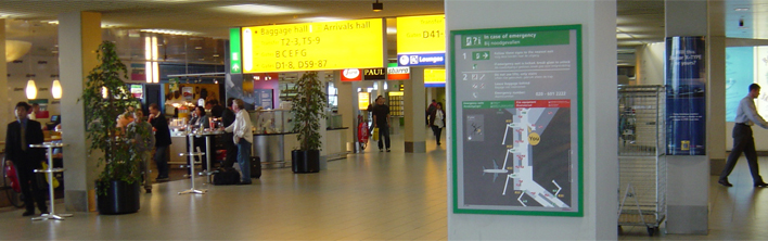 An understandable escape plan installed at Schiphol Airport.