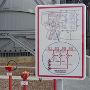 The fire water system is displayed on a overview sign with a specific valve section detail