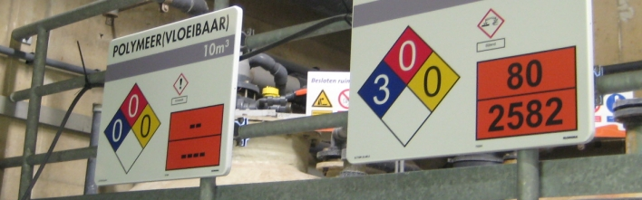 Op de industrie afgestemde tankmarkeringen met geintregeerde GHS symbolen, NFPA diamant en kemler code.