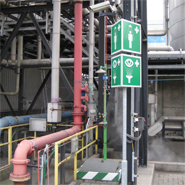 Panoramic signs to mark the location of a emergency shower from a significant distance.