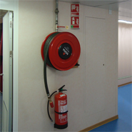 Panoramic and phosporent signs for identying the location of fire extinghuising devices even during black-outs.