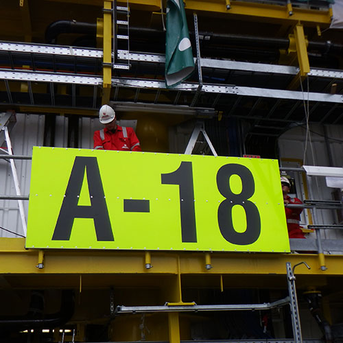 Offshore Kennzeichnungsschild ENGIE A18 plattform